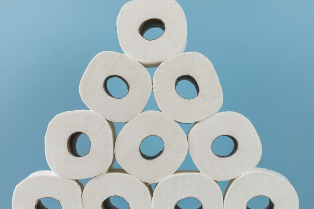 Stack of toilet paper in the shape of a pyramid. It's time to consider RV toilet paper alternatives.