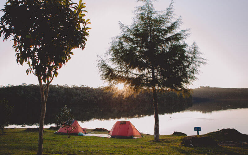 Tents in the sunset at Lake Somerville camping.