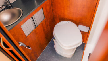 An RV waste tank can get stinky if you dont us the Geo Method vs Happy Campers.