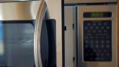 A close up image of an RV microwave convection oven