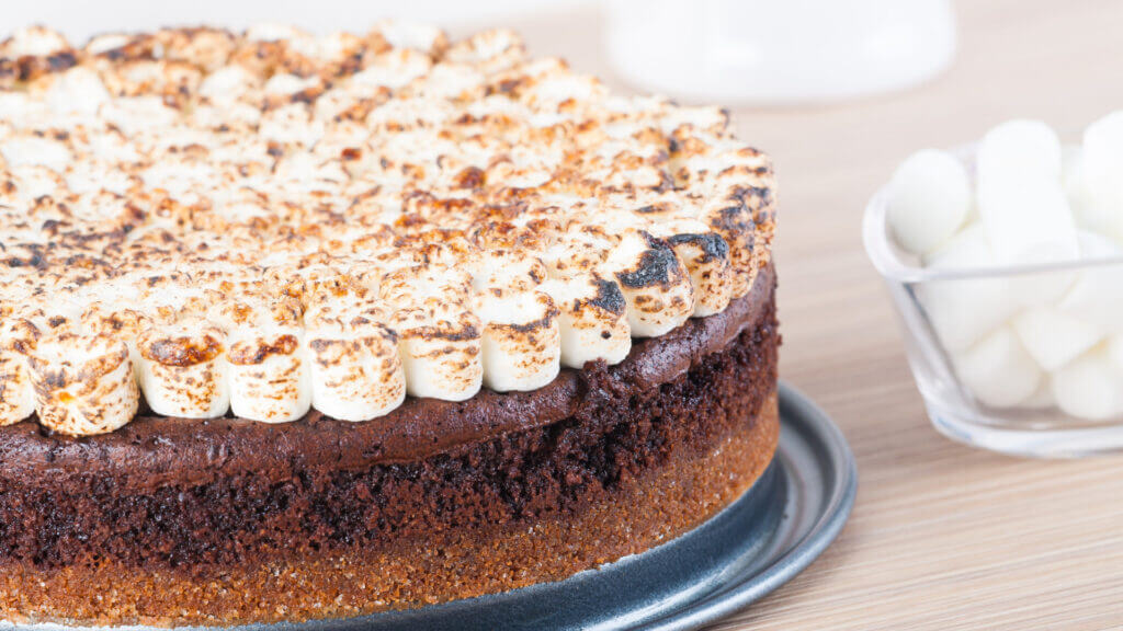 A neatly made smores cheescake with roasted marshmallows on top and a bowl of fresh mallows nearby.