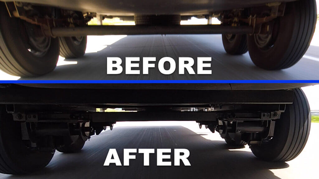 The before and after photos of our RV suspension