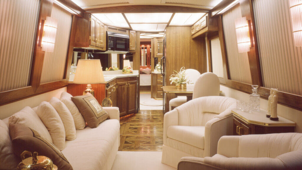 The interior of a motorhome can be pretty luxurious.