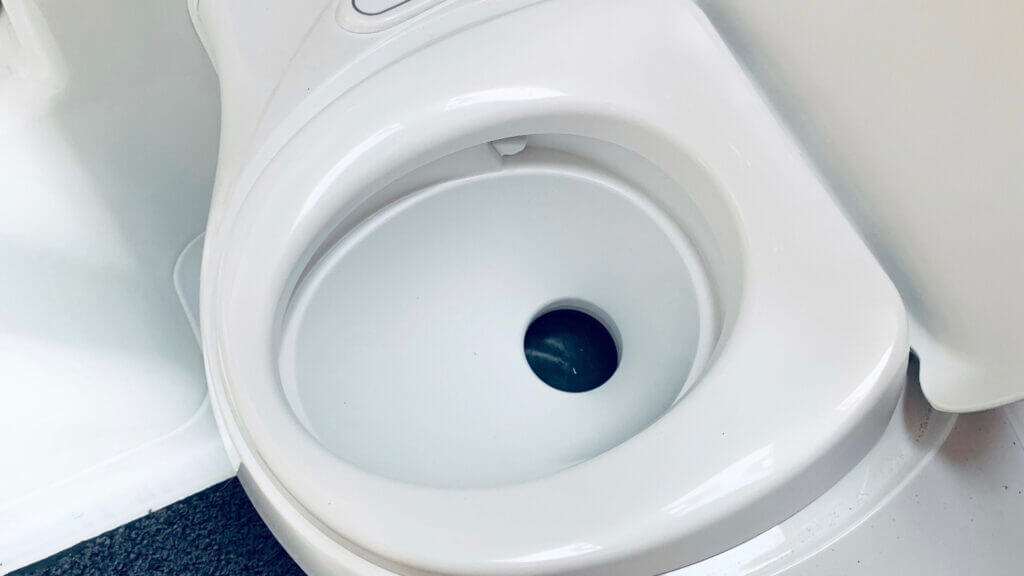 Most RV toilets rely on a black water tank to help dispose of the dirty contents.