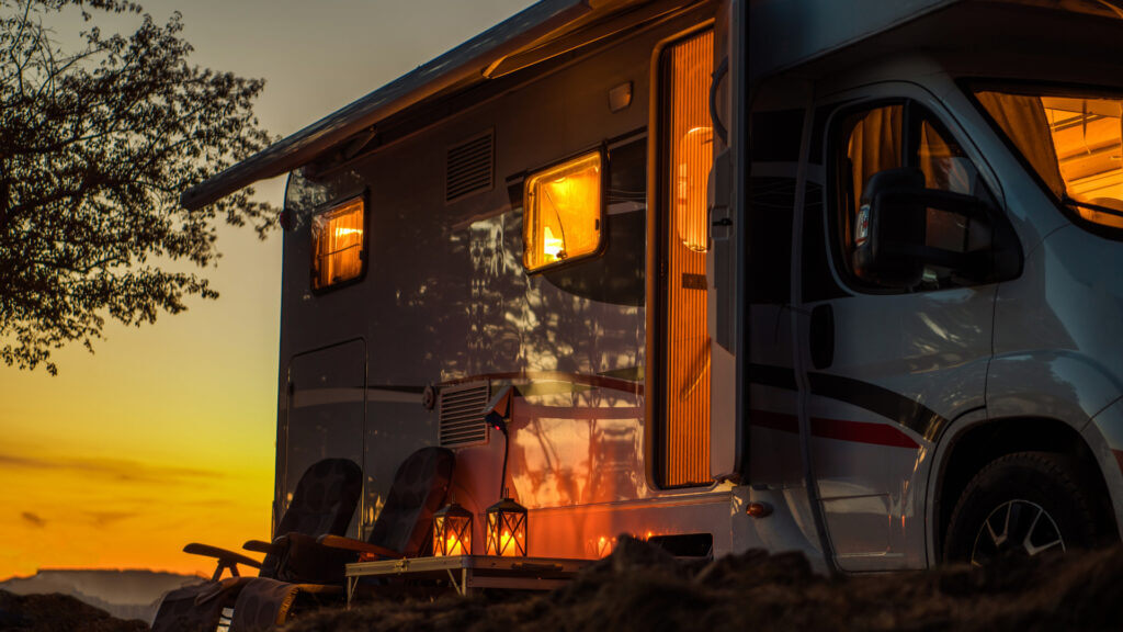 A sunsets on a warm summer night and to keep cool in your RV you can keep the windows and door open once the cool night air rolls around.