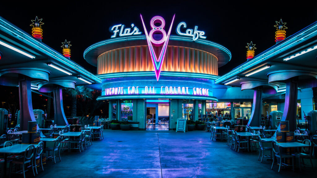 Plan to eat amazing food at iconic places like Flo's V8 Cafe while on your RV trip to Disney World.