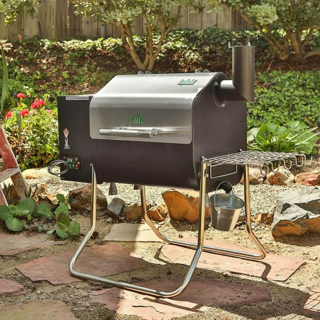 A Davy Crockett smoker is ready to go on someones back patio. If space is limited this is a great compact and portable smoker!