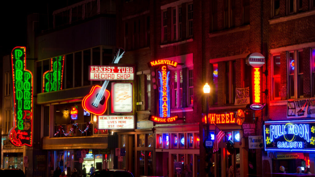 An RV trip to Nashville would not be complete without visiting the iconic Broadway street and its neon nightlife.