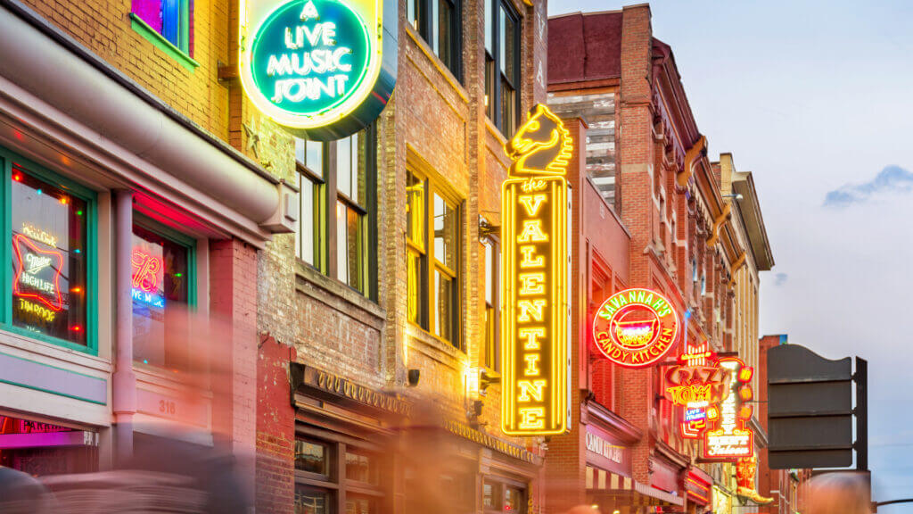 Broadway street is an iconic scene to visit while on your RV trip to Nashville. Be sure to snap a pic of the neon street lights!