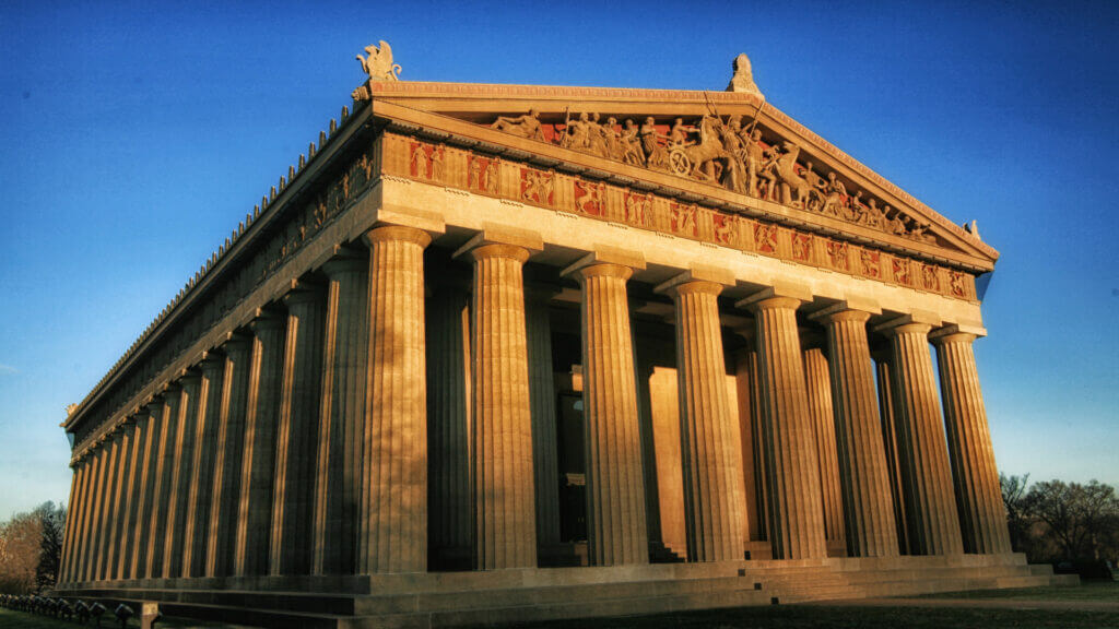 The Parthenon is a must see on your RV trip to Nashville. This replica glows in the morning light.