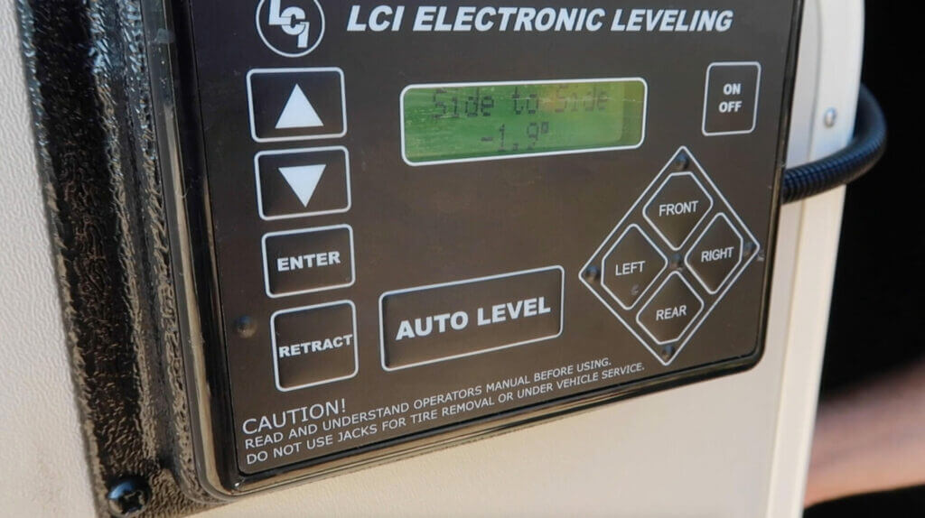 An RV leveling system showing that the RV is unlevel by 1.9 degrees
