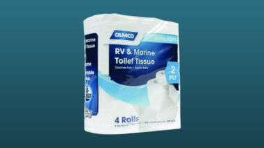 Camco RV toilet paper set against a dark blue background.