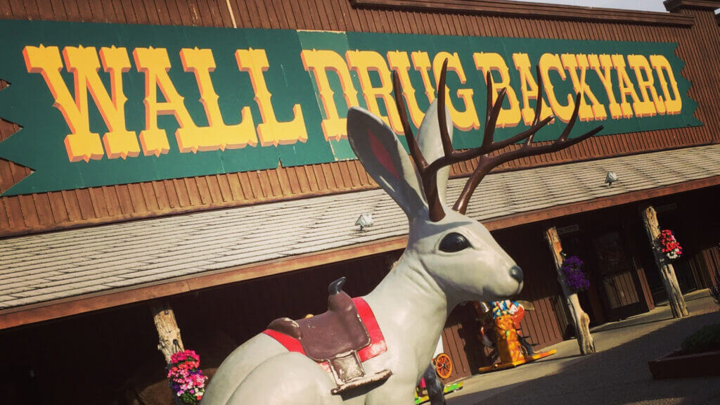 An RV trip across South Dakota would be incomplete without stopping by the Wall Drug store. It has the famous jackelope statue in front of the store.