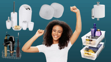 woman smiling with rv bathroom accessories surrounding her on a green background