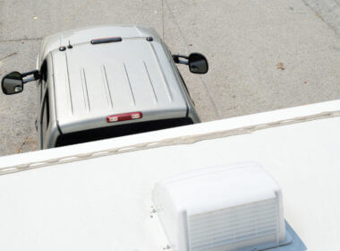 A truck tows an RV and could use a few upgrades to continue towing safely.