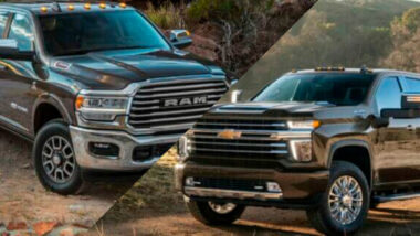 A Ram truck vs a Chevy truck with a slash between them.