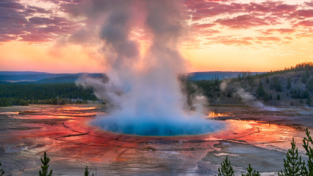 A gorgeous view of a colorful hot spring in Yellowstone National Park.