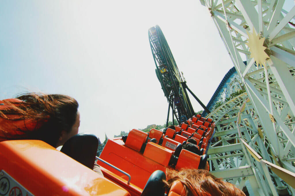 on the roller coaster at Disneyland California Adventure. Be sure to ride this ride when planning your RV Trip To Disneyland