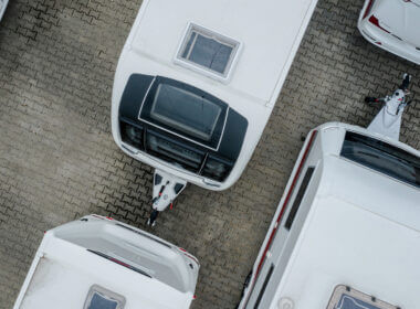 An overhead shot of a variety of travel trailers. What is the best Grand Design Transcend Floor Plan?