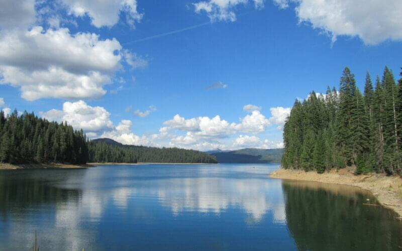 Sugar Pine Reservoir with trees surrounding it and blue skies with clouds