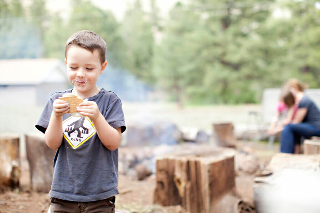 A boy at Sugar Pine Reservoir camping with smores and a fire