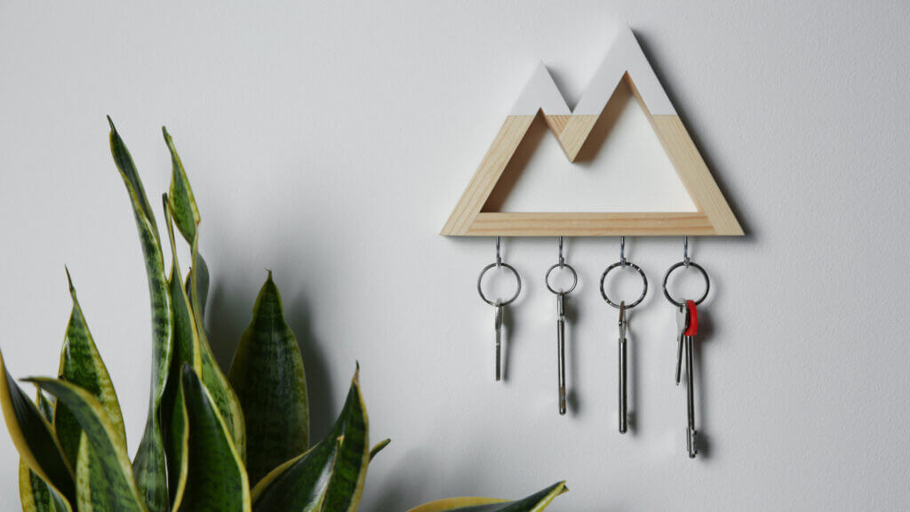 A mountain key holder keeps the essentials from being lost and fits the camping theme.