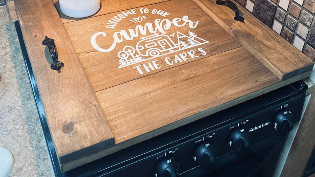 A custom stove cover is a thoughtful and unexpected personalized camping gift.