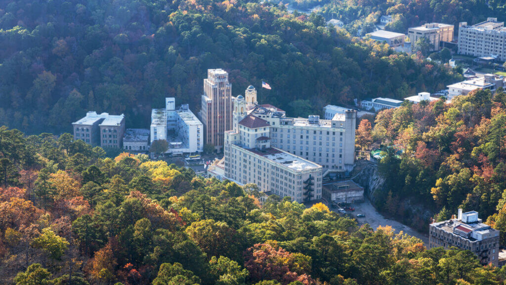 An aerial view of Hot Springs, Arkansas a hidden historical gem in the south.