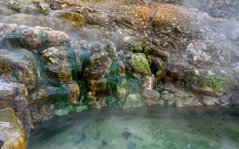 A green hot spring pool in Hot Springs Arkansas, a hidden gem in the south.