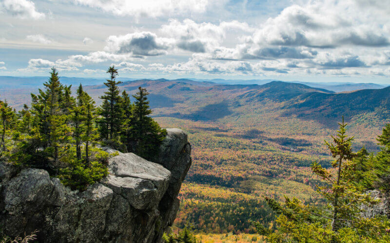 A stunning view from the trail on Tumbledown Mountain where you can no longer camp due to overuse and trash.