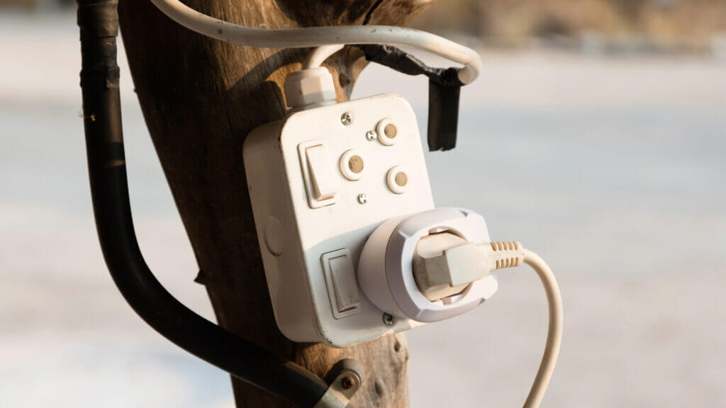 A power pedestal in a campground could be an unsafe set up for electronics like when they simply drill a plug against a tree.