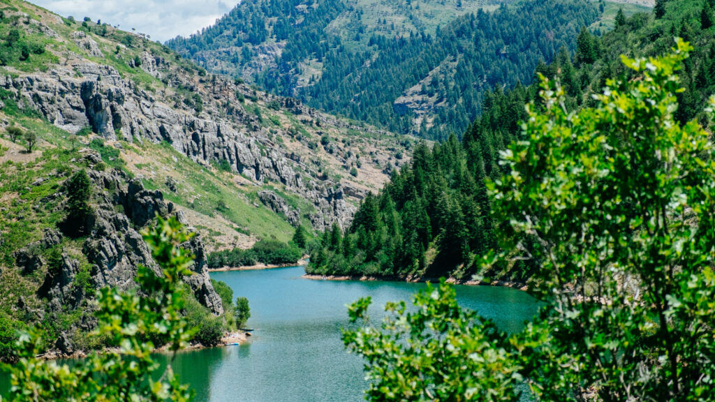 A stunning snapshot of the green and rocky Causey Reservoir.