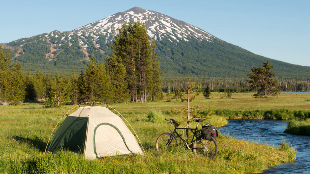 A great camping spot beneath a mountain in Central Oregon and near a river for fishing.