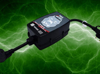 a power watchdog 30amp surge protector with green electric background