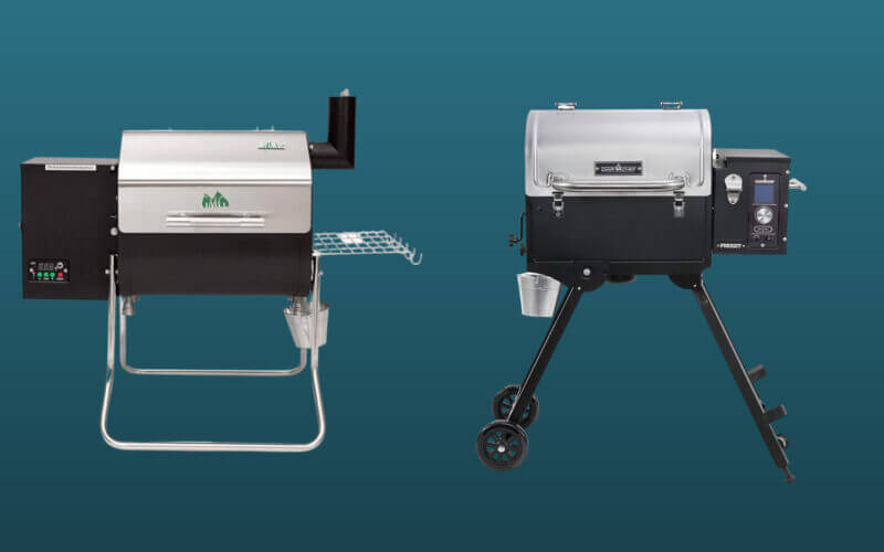 Green Mountain Grill vs Camp Chef pellet grills set against a dark blue background.