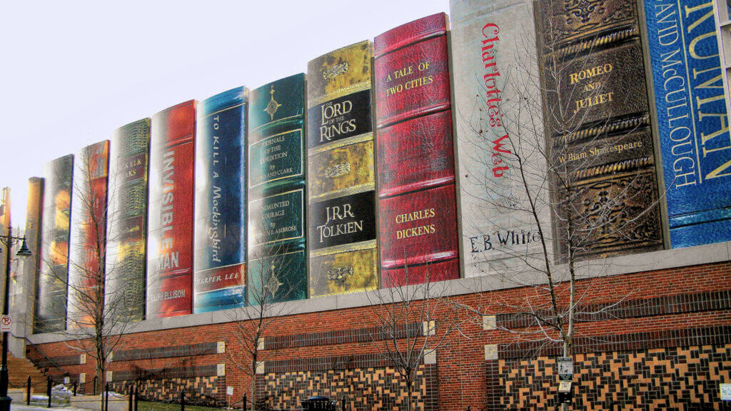 The iconic Giant Bookshelf at the Kansas City public library are a sight worth visiting.