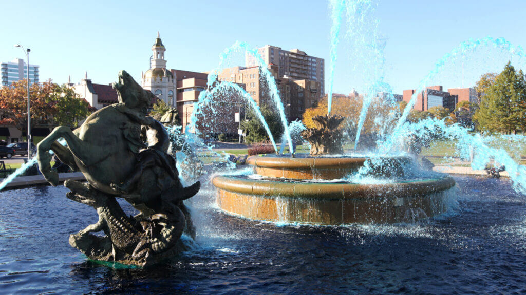 A fountain in Kansas City was dyed blue to celebrate the Royals winning the world series.