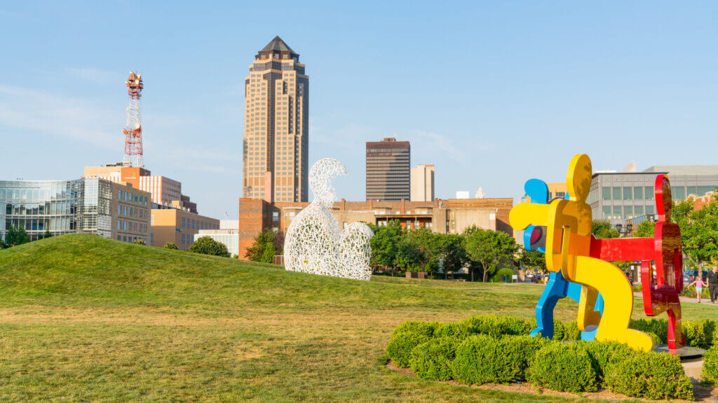 Pappajohn Sculpture park is a relaxing break from the buildings in the middle of downtown Des Moines.