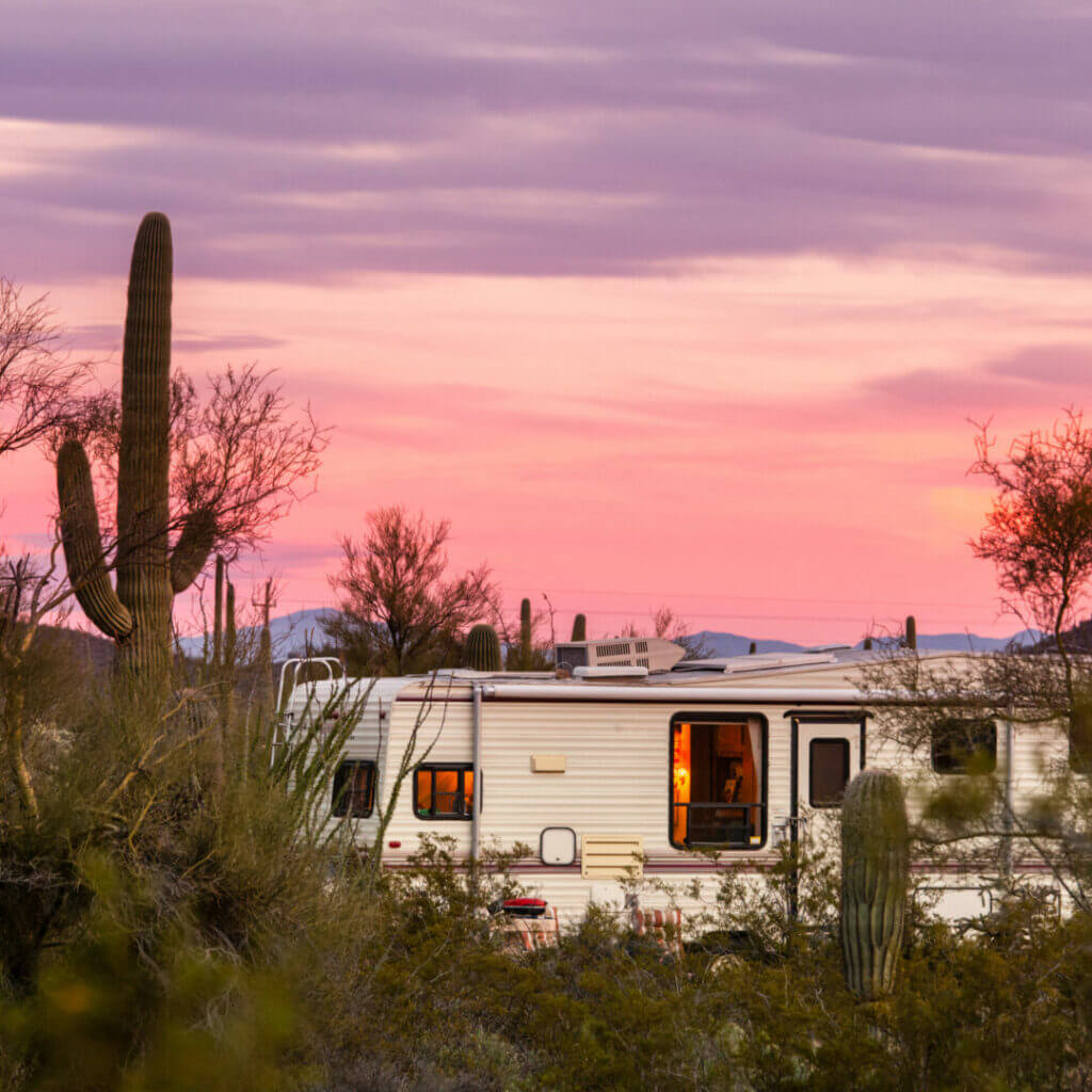 An RV camping in Mexico.
