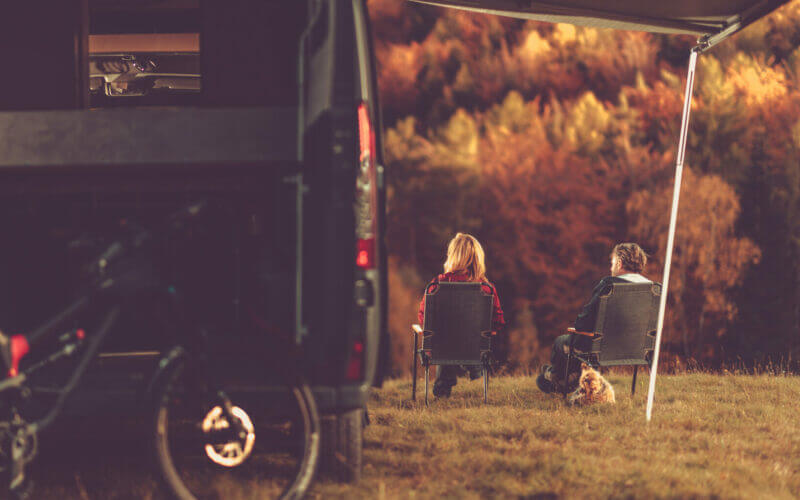 Couple boondocking in a National Park.