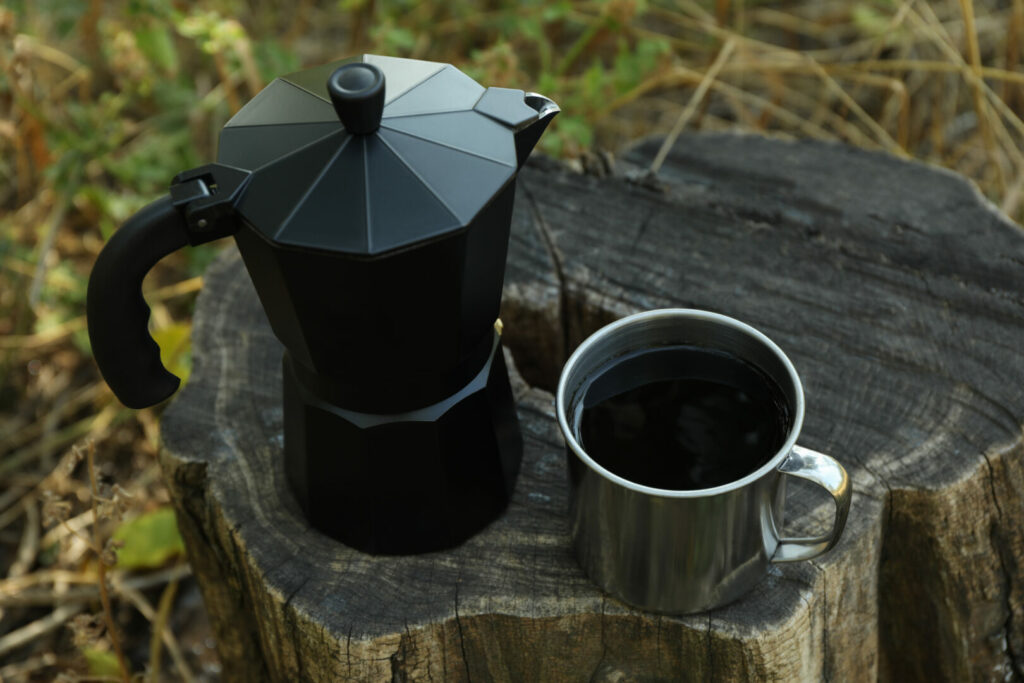 Coffee made while camping.