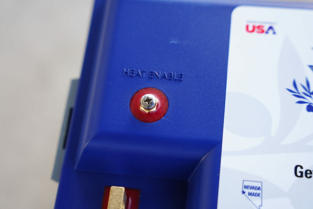 a close up shot of the Battle Born Batteries 100 AMP hour option, the best RV battery for boondocking and dry camping