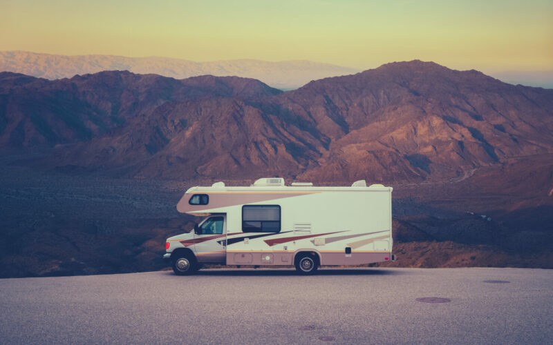 RV camping in the mountains.