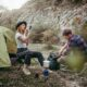 Couple camping in the mountains.