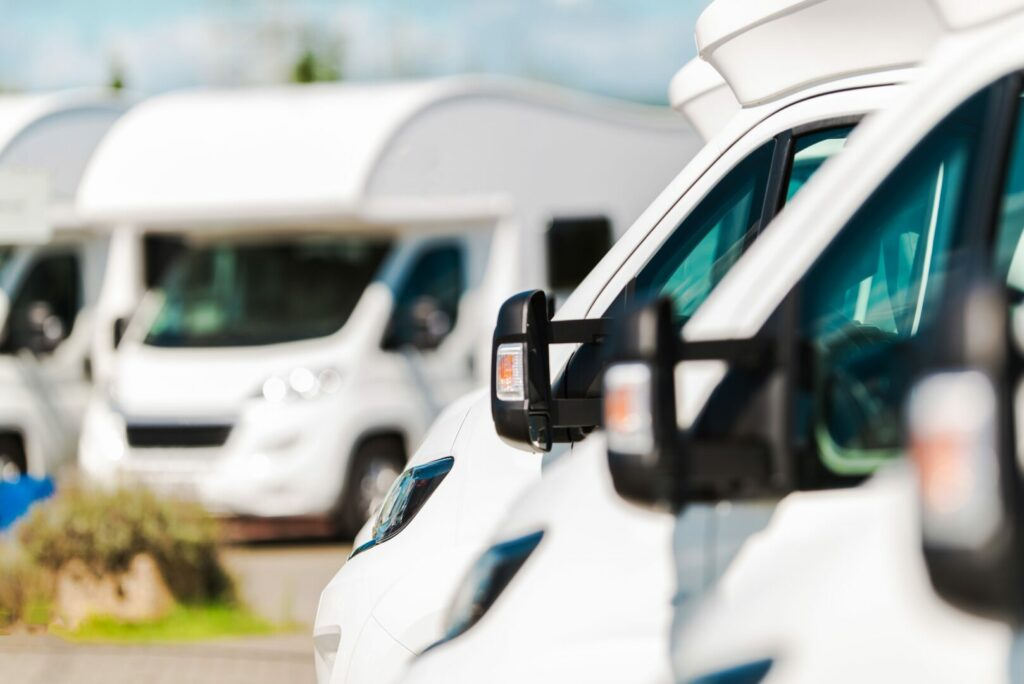All motorhome classes parked in a row.