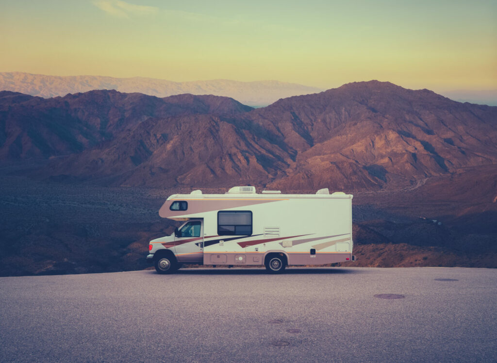 Class C Motorhome parked in the mountains.