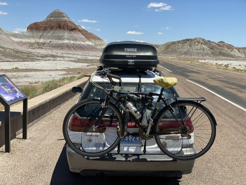 Car parked at Petrified National Forest Park.