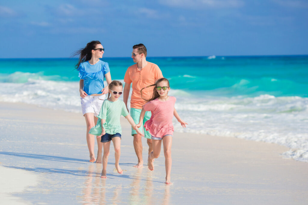 Family on vacation at Fort Desoto, Florida.