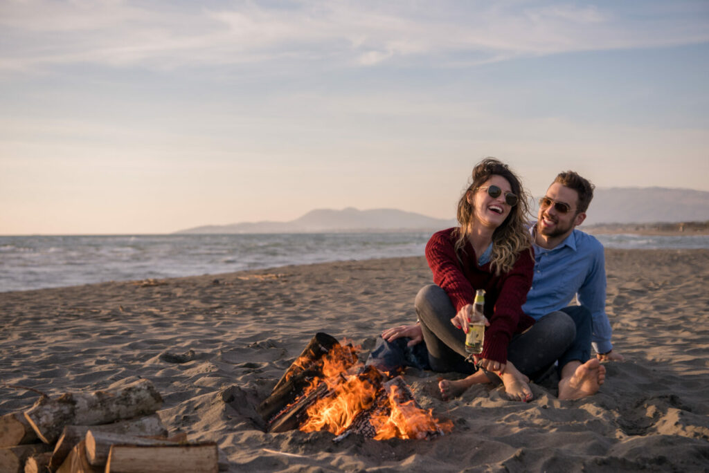 Couple camping on the beach at Fort Desoto