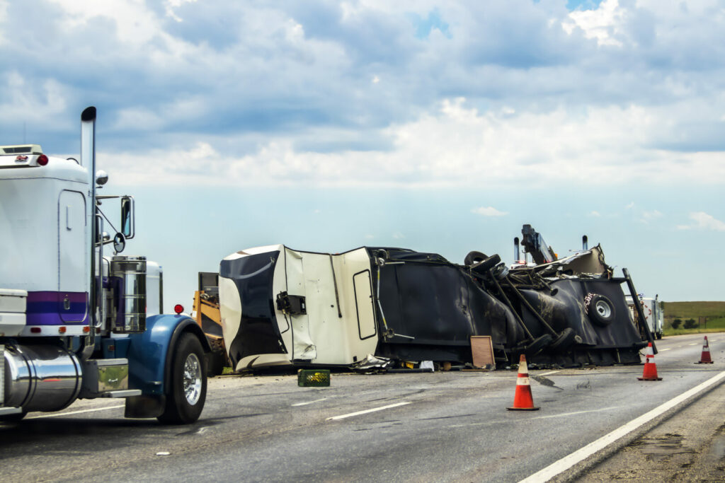 A fifth wheel RV flipped on its side after being in an accident